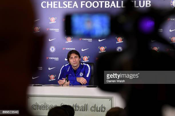 Antonio Conte manager of Chelsea speaks to the media during a press conference at Chelsea Training Ground on December 29 2017 in Cobham England