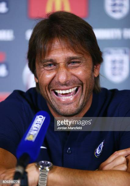 Antonio Conte manager of Chelsea talks during a Chelsea Press Conference at Chelsea Training Ground on August 4 2017 in London England