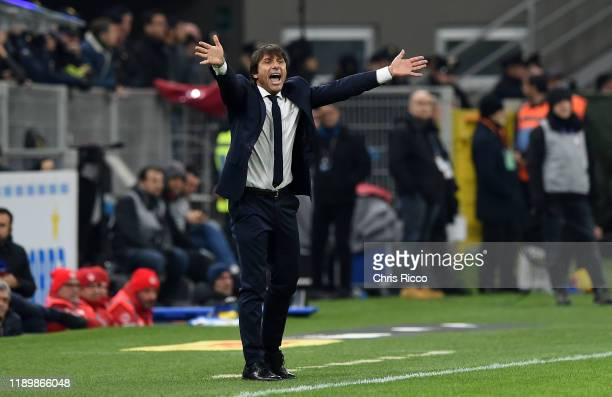 Antonio Conte Manager of FC Internazionale during the Serie A match between FC Internazionale and Genoa CFC at Stadio Giuseppe Meazza on December 21...