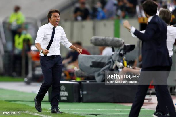 Antonio Conte Manager of Inter Milan celebrates at full time of the UEFA Europa League Quarter Final between FC Internazionale and Bayer 04...