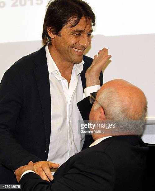 Antonio Conte manager of Italy and Carlo Tavecchio president of FIGC during an Italian Football Federation seminar at Coverciano on May 19 2015 in...