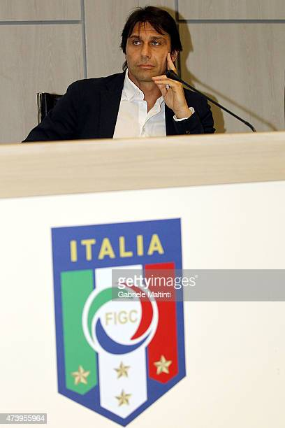 Antonio Conte manager of Italy during an Italian Football Federation seminar at Coverciano on May 19 2015 in Florence Italy