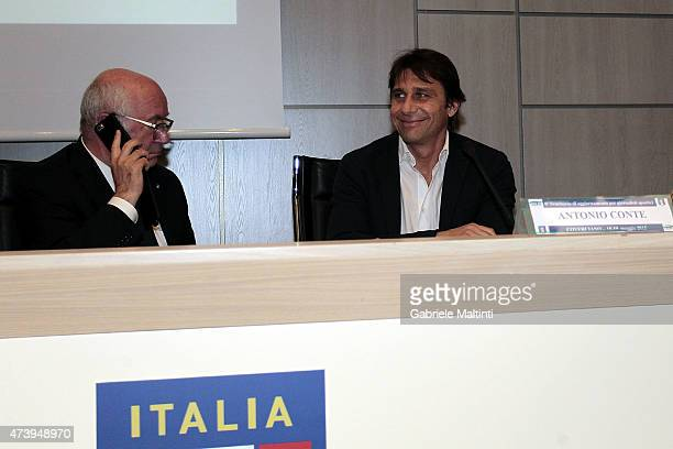 Antonio Conte manager of Italy during and Carlo Tavecchio president of FIGC during an Italian Football Federation seminar at Coverciano on May 19...