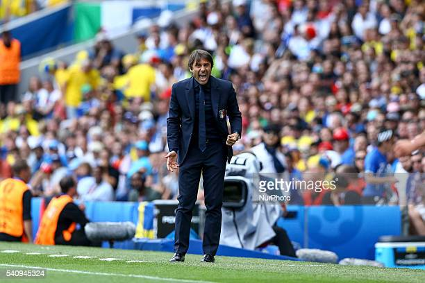 Antonio Conte manager of Italy during the UEFA EURO 2016 Group E match between Italy and Sweden at Stadium Municipal on June 17 2016 in Toulouse...