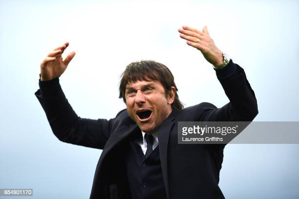 Antonio Conte of Chelsea celebrates victory during the Premier League match between Stoke City and Chelsea at Bet365 Stadium on March 18 2017 in...
