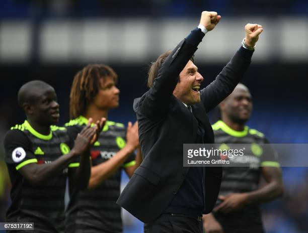 Antonio Conte of Chelsea celebrates with the fans after victory in the Premier League match between Everton and Chelsea at Goodison Park on April 30...