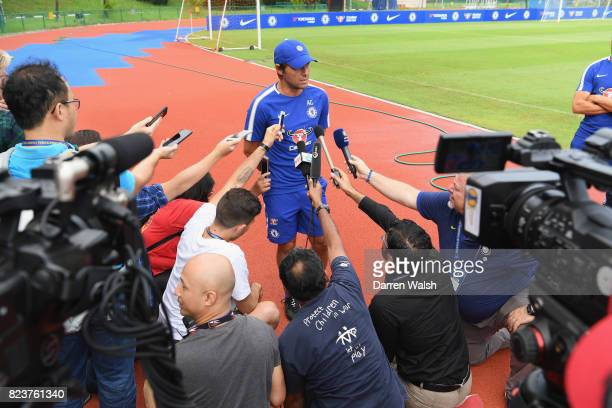 Antonio Conte of Chelsea during a a press conference before a training session at Singapore American School on July 28 2017 in Singapore
