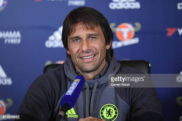 Antonio Conte of Chelsea during a press conference at Chelsea Training Ground on September 30 2016 in Cobham England