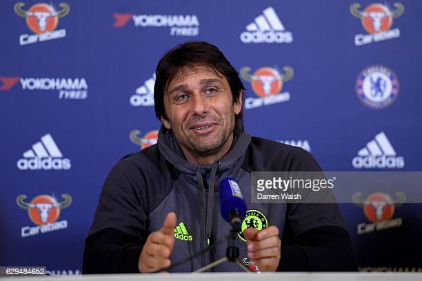 Antonio Conte of Chelsea during a press conference at Chelsea Training Ground on December 13 2016 in Cobham England