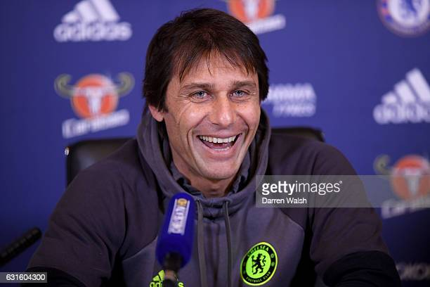 Antonio Conte of Chelsea during a press conference at Chelsea Training Ground on January 13 2017 in Cobham England