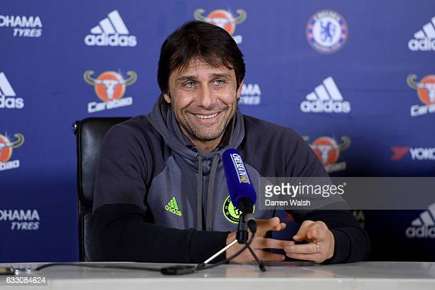Antonio Conte of Chelsea during a press conference at Chelsea Training Ground on January 30 2017 in Cobham England