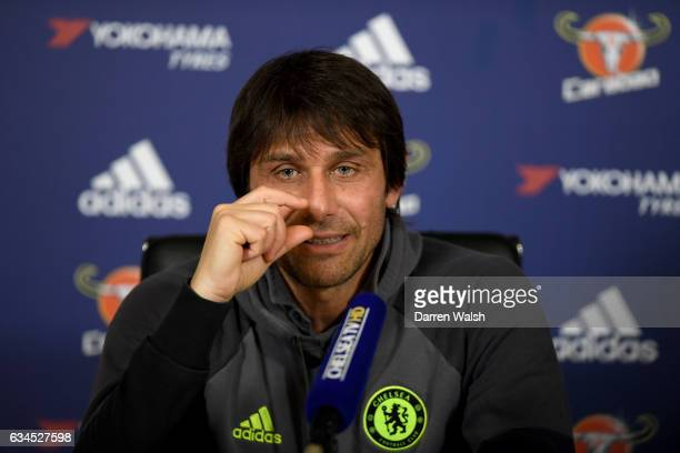 Antonio Conte of Chelsea during a press conference at Chelsea Training Ground on February 10 2017 in Cobham England