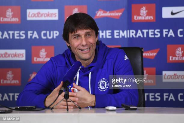 Antonio Conte of Chelsea during a press conference at Chelsea Training Ground on March 10 2017 in Cobham England