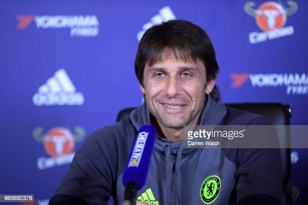 Antonio Conte of Chelsea during a press conference at Chelsea Training Ground on April 7 2017 in Cobham England