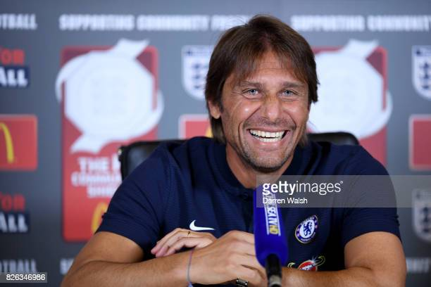 Antonio Conte of Chelsea during a press conference at Chelsea Training Ground on August 4 2017 in Cobham England