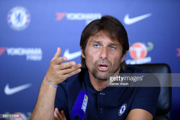 Antonio Conte of Chelsea during a press conference at Chelsea Training Ground on August 11 2017 in Cobham England