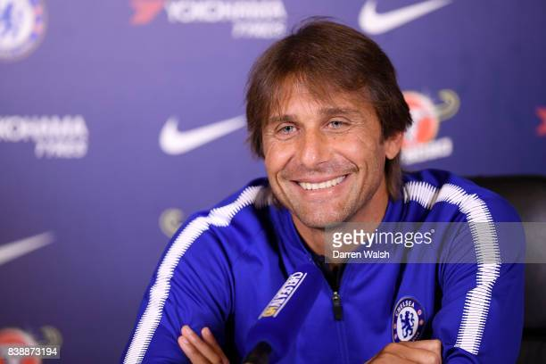 Antonio Conte of Chelsea during a press conference at Chelsea Training Ground on August 25 2017 in Cobham England