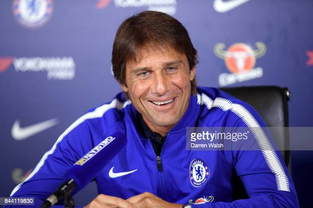 Antonio Conte of Chelsea during a press conference at Chelsea Training Ground on September 8 2017 in Cobham England