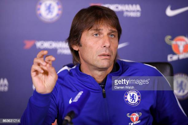 Antonio Conte of Chelsea during a press conference at Chelsea Training Ground on October 20 2017 in Cobham United Kingdom
