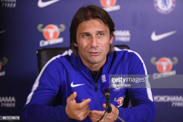 Antonio Conte of Chelsea during a press conference at Chelsea Training Ground on October 27 2017 in Cobham England