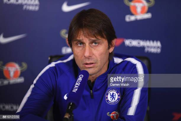 Antonio Conte of Chelsea during a press conference at Chelsea Training Ground on November 28 2017 in Cobham England