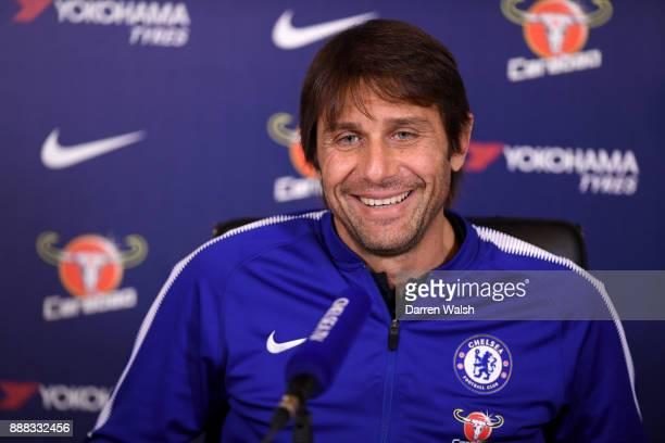 Antonio Conte of Chelsea during a press conference at Chelsea Training Ground on December 8 2017 in Cobham England