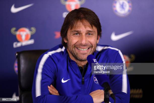 Antonio Conte of Chelsea during a press conference at Chelsea Training Ground on December 11 2017 in Cobham England