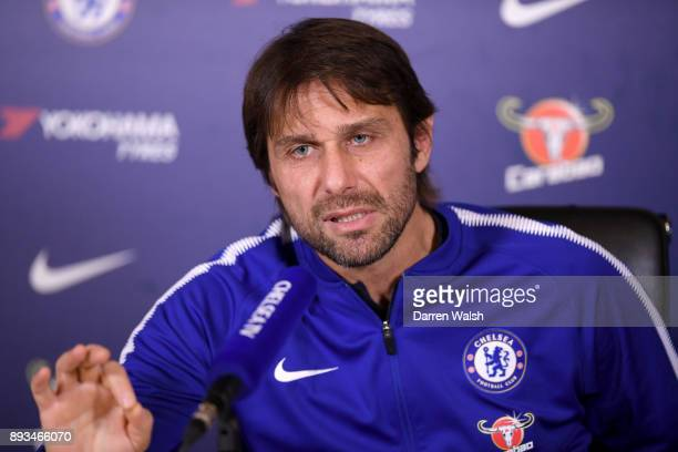 Antonio Conte of Chelsea during a press conference at Chelsea Training Ground on December 15 2017 in Cobham England