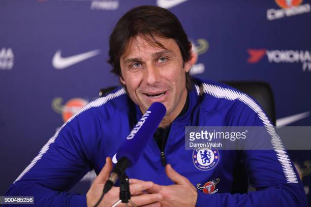 Antonio Conte of Chelsea during a press conference at Chelsea Training Ground on January 2 2018 in Cobham England