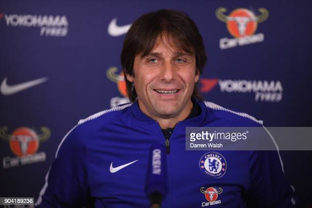 Antonio Conte of Chelsea during a press conference at Chelsea Training Ground on January 12 2018 in Cobham England