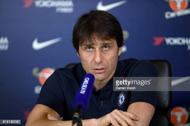 Antonio Conte of Chelsea during a press conference at Chelsea Training Ground on February 9 2018 in Cobham England