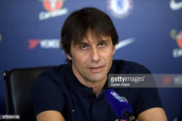 Antonio Conte of Chelsea during a press conference at Chelsea Training Ground on February 23 2018 in Cobham United Kingdom