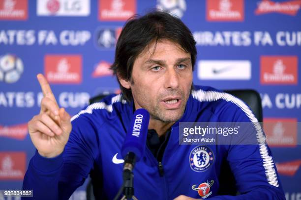Antonio Conte of Chelsea during a press conference at Chelsea Training Ground on March 16 2018 in Cobham United Kingdom