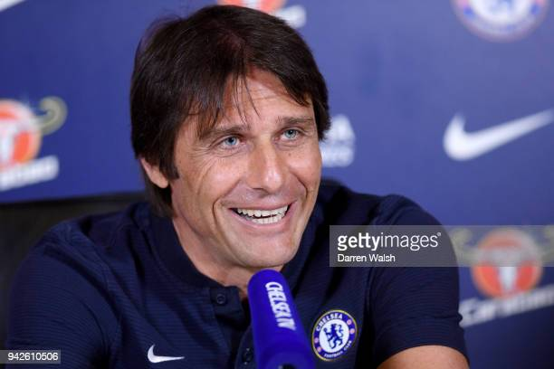 Antonio Conte of Chelsea during a press conference at Chelsea Training Ground on April 6 2018 in Cobham England