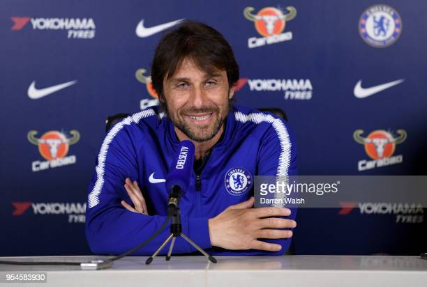 Antonio Conte of Chelsea during a press conference at Chelsea Training Ground on May 4 2018 in Cobham England