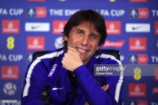 Antonio Conte of Chelsea during a press conference at Chelsea Training Ground on May 18 2018 in Cobham England