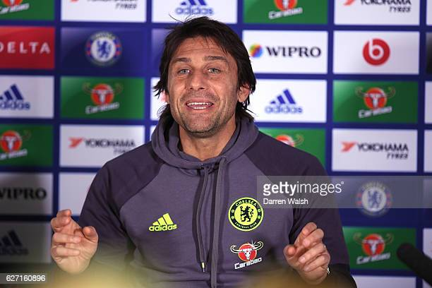 Antonio Conte of Chelsea during a press conference at Stamford Bridge on December 2 2016 in London England