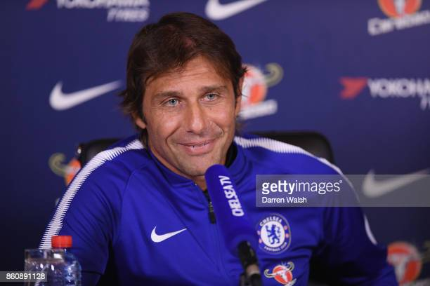 Antonio Conte of Chelsea during a press conference at the Cobham Training Ground on October 13 2017 in Cobham England