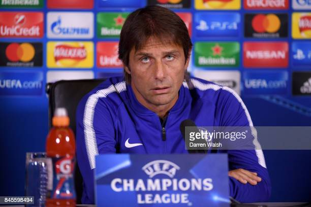 Antonio Conte of Chelsea during a press conference on the eve of their UEFA Champions League group C match against Qarabag FK at Chelsea Training...
