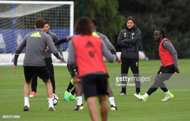 Antonio Conte of Chelsea during a training session at Chelsea Training Ground on May 19 2017 in Cobham England