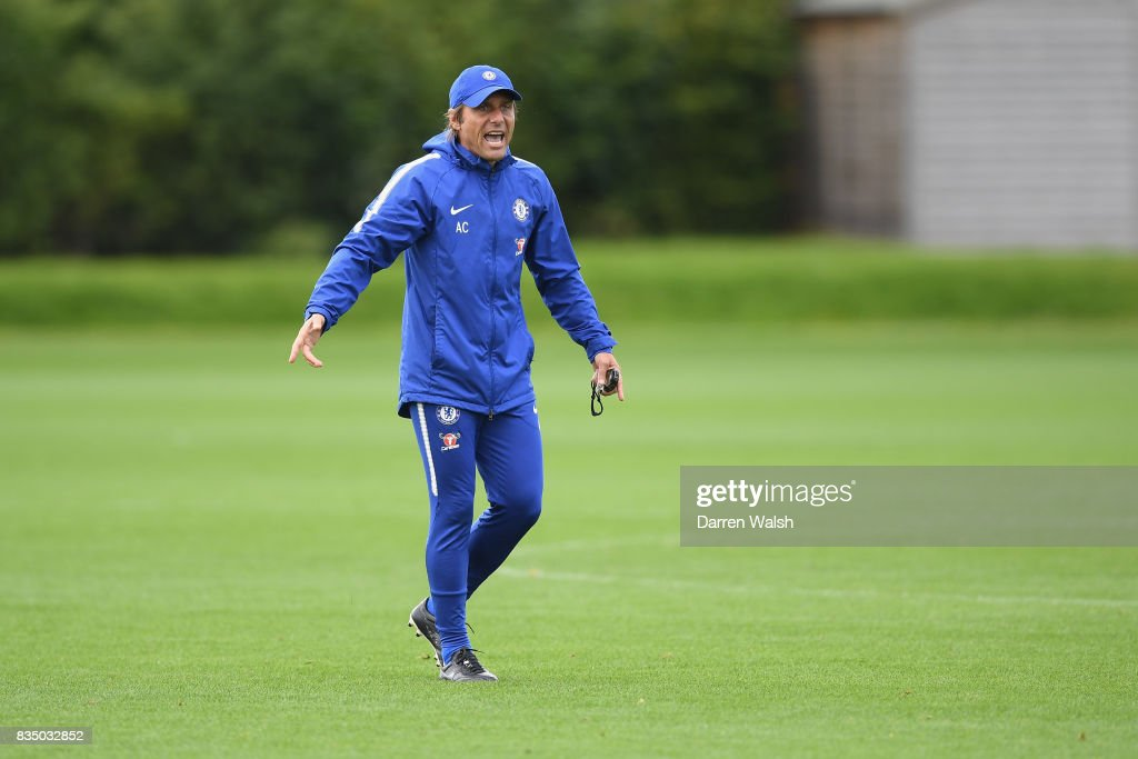 Antonio Conte of Chelsea during a training session at Chelsea Training Ground on August 18, 2017 in Cobham, England.