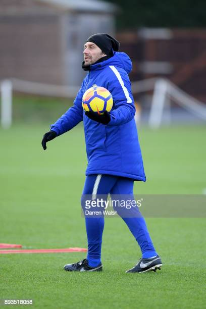 Antonio Conte of Chelsea during a training session at Chelsea Training Ground on December 15 2017 in Cobham England