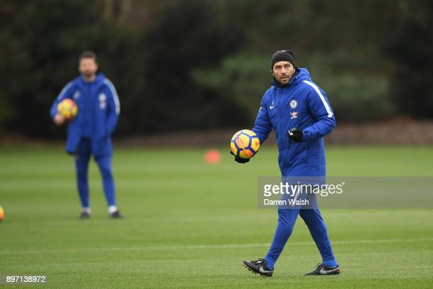Antonio Conte of Chelsea during a training session at Chelsea Training Ground on December 22 2017 in Cobham England