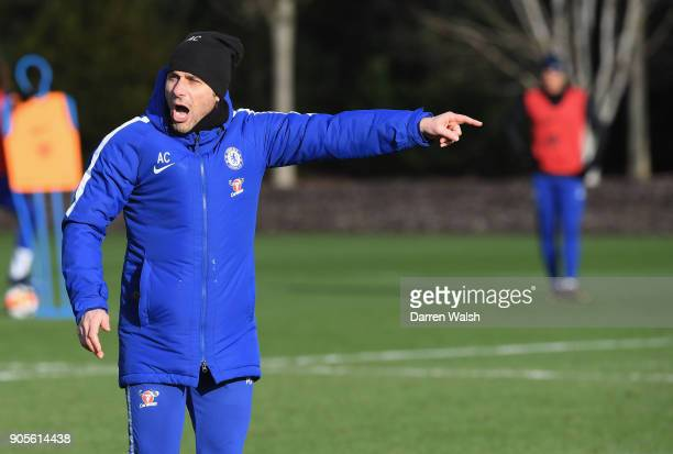 Antonio Conte of Chelsea during a training session at Chelsea Training Ground on January 16 2018 in Cobham England