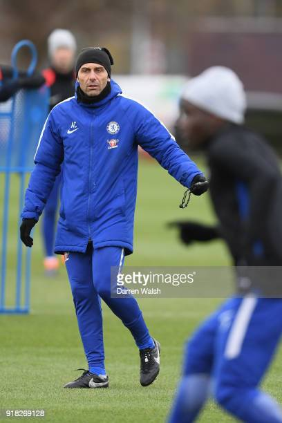 Antonio Conte of Chelsea during a training session at Chelsea Training Ground on February 14 2018 in Cobham England