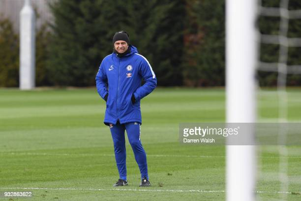 Antonio Conte of Chelsea during a training session at Chelsea Training Ground on March 16 2018 in Cobham United Kingdom