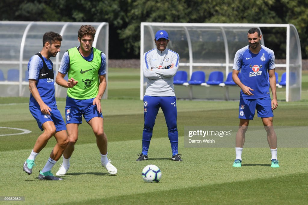 Antonio Conte of Chelsea during a training session at Chelsea Training Ground on July 11, 2018 in Cobham, England.