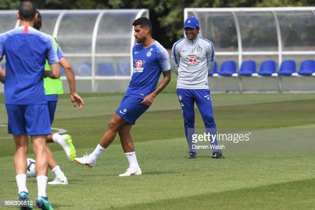 Antonio Conte of Chelsea during a training session at Chelsea Training Ground on July 11 2018 in Cobham England