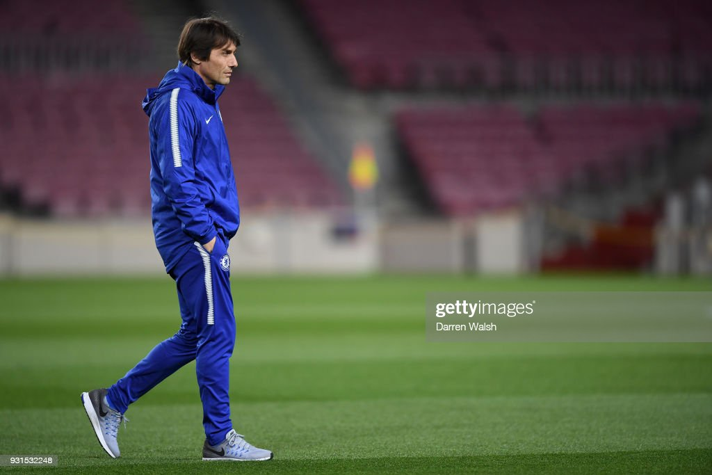 Antonio Conte of Chelsea during a training session at Nou Camp on March 13, 2018 in Barcelona, Spain.