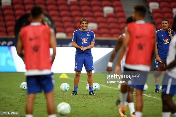 Antonio Conte of Chelsea during a training session at Singapore National Stadium on July 24, 2017 in Singapore.